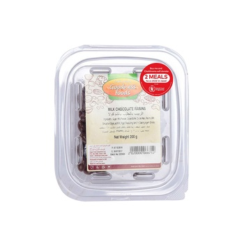 Goodness Foods  Milk Chocolate Raisins 200g