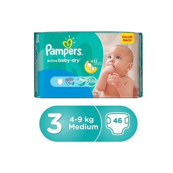 Pampers Active Baby 3 Medium (4-9kg) 46pcs