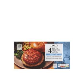 Tesco 4Pork & Chorizo Q/Pounders 454g