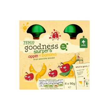 Tesco Goodness Apple & Banana Fruit Slurpers 4 X 90g