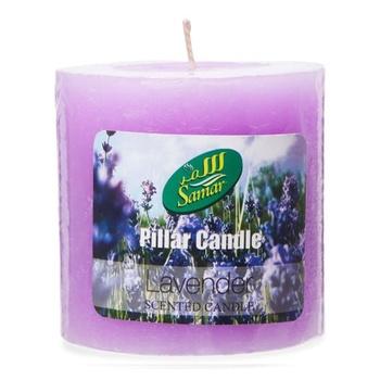 Samar Pillar Candle 7.5X7.5Cm Purple-Lavender