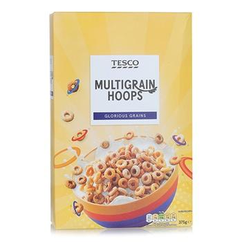 Tesco Multigrain Hoops Cereal 375g