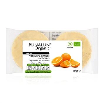 Bunalun Organic Snacks Yoghurt & Orange Rice Cakes 100g