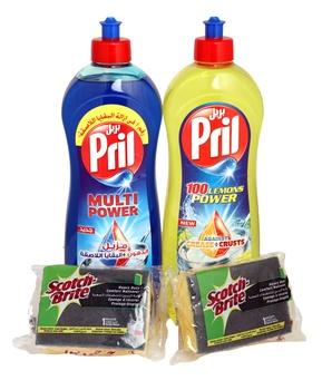 Pril Lemon 1ltr + Pril Blue 1ltr Twin Pack + Scotch Brite Sponges