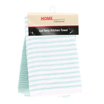 Home Selection Kitchen Towel 4 Pack-Blue