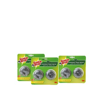 Scotch Brite Metallic Spiral Ball Blister Pack Of 3