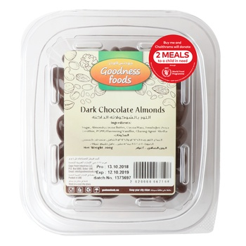 Goodness Foods Dark Almonds Chocolate 200g