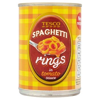 Tesco Spaghetti Rings In Tomato Sauce 395g