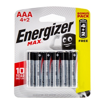 Energizer pack of 6 Max Alkaline Battery AAA