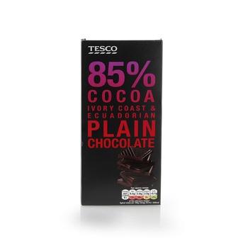 Tesco 85% Cocoa Plain Chocolate Bar 100g