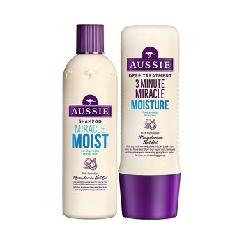 Aussie Miracle Moist Shampoo 300ml and 3 Minute Miracle Moist 250ml