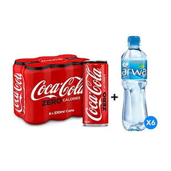 Coca-Cola Zero 6 x 330ml Cans + Arwa Water 6 x 500ml Free