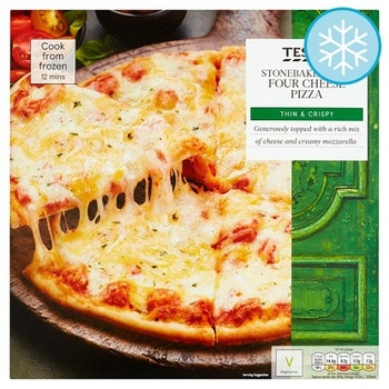 Tesco Stone Baked Thin 4 Cheese Pizza 330g