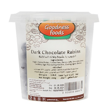Goodness Foods Dark Chocolate Raisins 200g