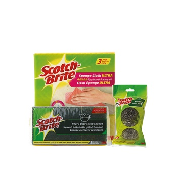 Scotch Brite (Sponge Cloth+ Spiral+ Laminate) Combo Pack