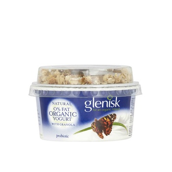 Glenisk  Organic Natural 0% Fat Yoghurt with Granola 145g