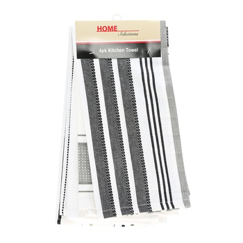 Home Selection Kitchen Towel 4 Pack-Black & White
