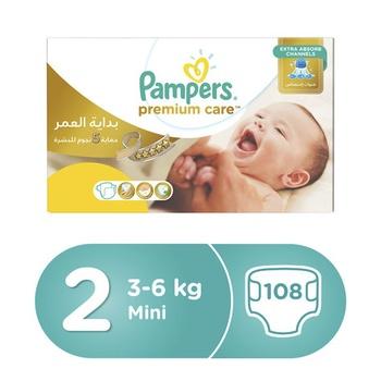 Pampers Premium Care Diapers  Size 2  Mini  3-6 kg  Mega Box  108 Count