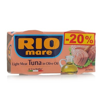 Rio mare canned light tuna meat in olive oil 2 x 160gm @ 25% off