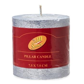 Samar Pillar Candle 7.5X7.5 Cm Silver