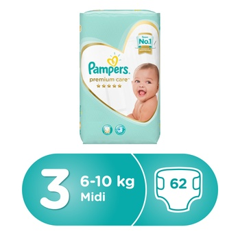 Pampers Premium Care Diapers  Size 3  Midi  5-9 kg  Value Pack  62 Count