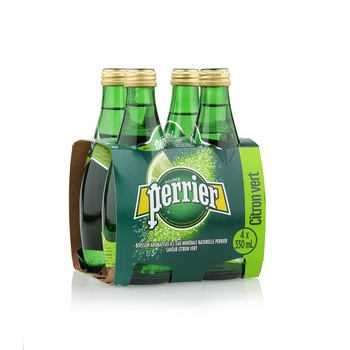 Perrier Natural Sparkling Mineral Water Lime Glass Bottle 4X330 ml