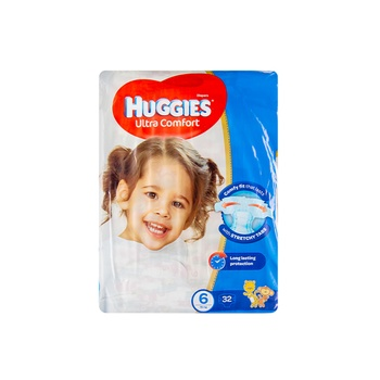 HUGGIES Ultra Comfort Diapers Size 6 Value Pack 15+ kg Pack of 32 Diapers
