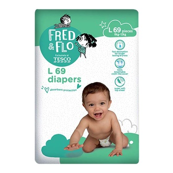 Tesco Fred & Flo Tape Diapers L 69 Pieces