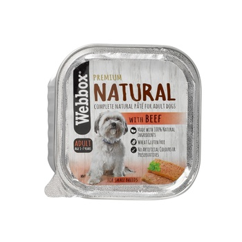 Webbox Natural Dog Food Square Tray Beef Pate 150g