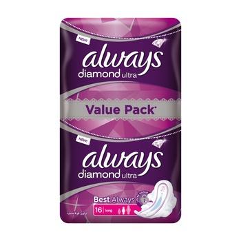 Always Diamond Ultra Thin Locks Odor Long 16pcs