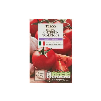 Tesco Chopped Tom With Garlic&Olive Oil 390g