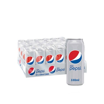 Pepsi diet carbonated can soft drinks 330ml pack of 24