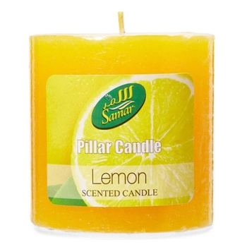 Samar Pillar Candle 7.5X7.5Cm Yellow-Lemon