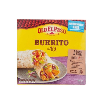 Old El Paso Organic Beans & Chilli Mild Burito Kit 485g