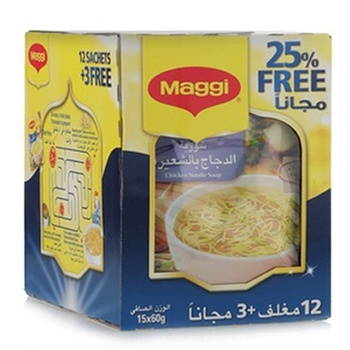 Maggi Chicken Noodle Soup 15 Bags 12 + 3 Free