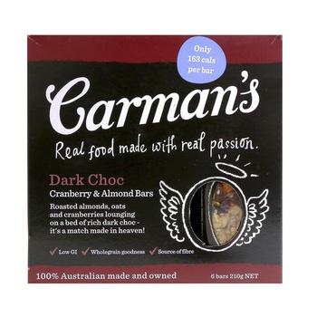 Carmans Dark Chocolate Cranberry & Almonds Bar 210g