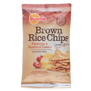 Sunwhite Brown Rice Chips Parmesan & Sundried Tomato 156g