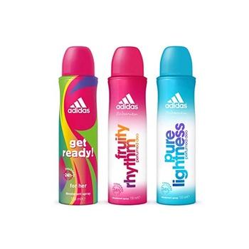 Adidas Get Ready + Fruithy Rhythm + Pure Lightness Deodorant Body Spray for Women 3 x 150 ml