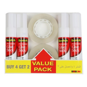 3M Scotch Glue Stick 4 X 8Gm + 2 Tape