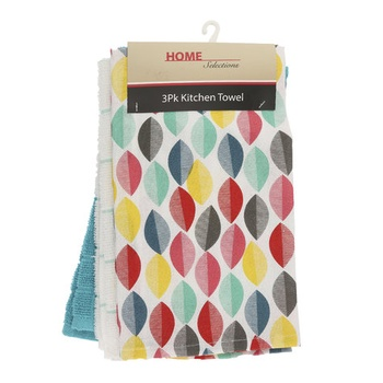 Home Selection Kitchen Towel 3 Pack-Blue