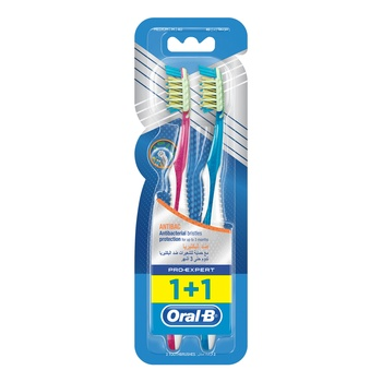 Oral-B Pro-Expert Cross Action Anti Bacterial Toothbrush Medium 2 Count