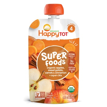 Happy Tot Organics Superfoods Stage 4 Organic Apples, Sweet Potatoes, Carrots & Cinnamon + Super Chia 120g Pouch