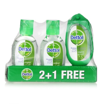 Dettol Original Anti-bacterial Hand Sanitizer 3 x 50 ml with Bag Tag @ 33% Off