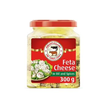 The Three Cows TTC Feta Cheese Cubes in Oil and Spices Jar 300g