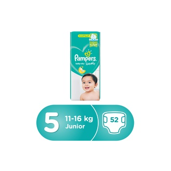 Pampers Baby-Dry Diapers  Size 5  Junior  11-18 kg  Jumbo Pack  52 Count