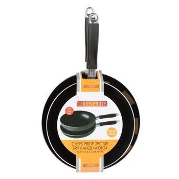 Chef'S Pride Fry Pan + Wok Set 2 Pcs