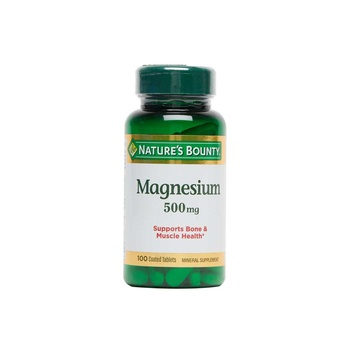 Nature's Bounty Magnesium Coated Tablets 500 mg 100 Count