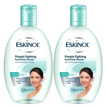 Eskinol Pimple Fighting Facial Deep Cleanser with Anti-Bacterial Formula 225ml Pack of 2