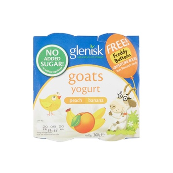 Glenisk Goats Yog Peach&Banana 4X90G