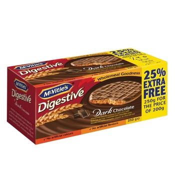 Mcvities Digestive Dark Chocolate 200G+25% Extra